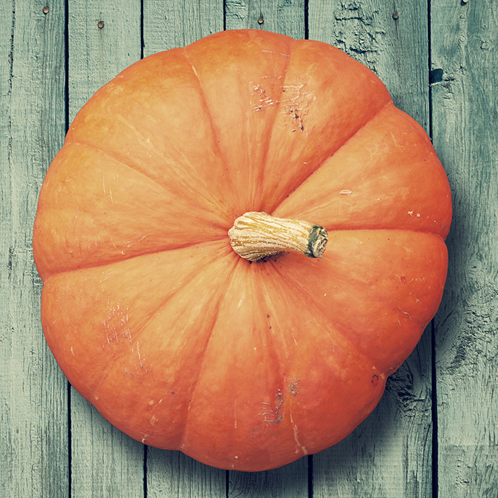 pumpkin on wooden rustic background, top view